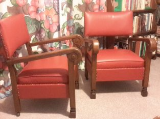 Pair of vintage oak framed armchairs