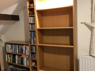 Book cases with adjustable shelves, CD rack